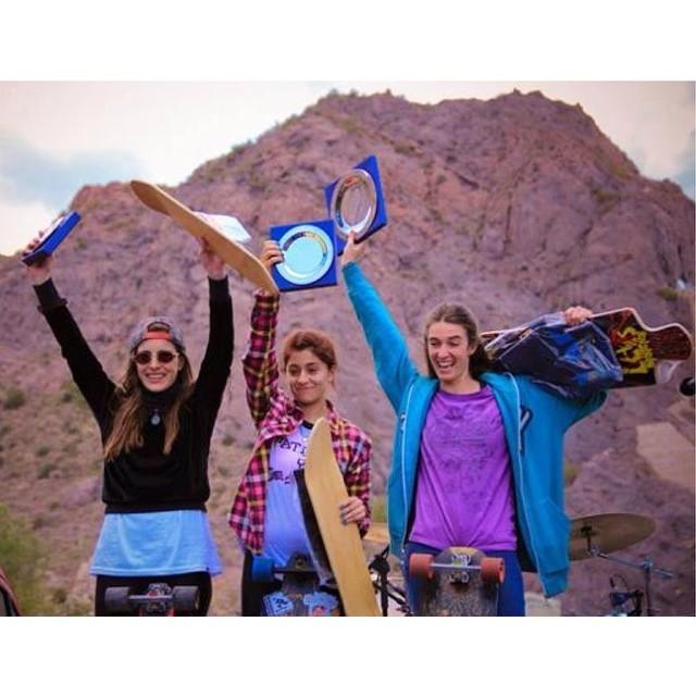 Argentinas' #vallegrandedownhill2014 Womens' Podium:  1. Cami Pucheta 2. @magdub  3. Agus Roldán Congrats ladies! Estefi Arlettaz photo  #longboardgirlscrew #girlswhoshred #camipucheta #magdablanc #agusroldan #mendoza