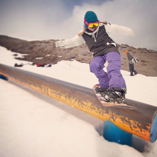 @ppppnut and the #poise killing it while @moofosta hikes up for his next hit. #thrivesnowboards #snowboarding #rails #mthood