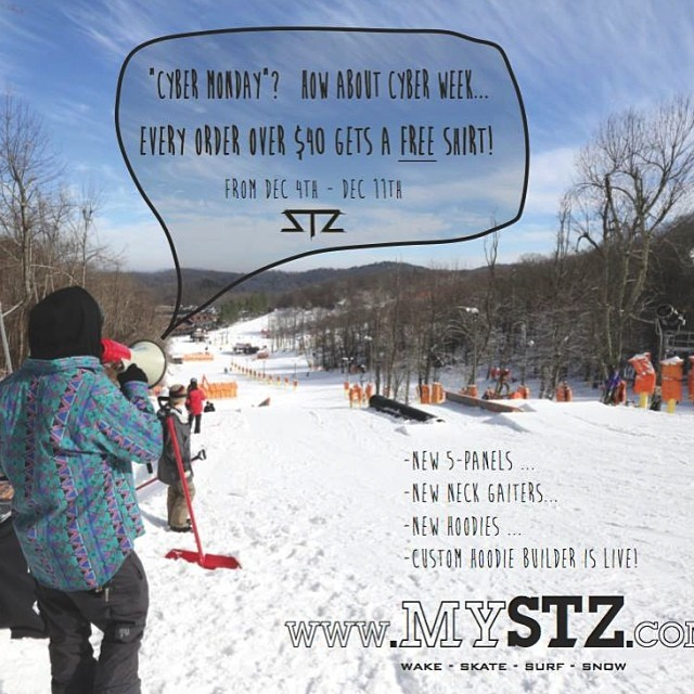 """Cyber week""! Every order over $40 gets a FREE shirt! Get in it, NEW hoodies, hats, neck gaiters and more perfect for Xmas gifts! #stzlife #tbt #therightcoast #happyshredding #mystz #winterishere #snowboard"