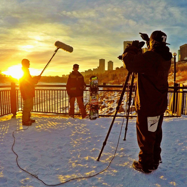 @dylanathompson is filming in the streets of Edmonton, Canada!  Check out his #RealSnow edit in March. (