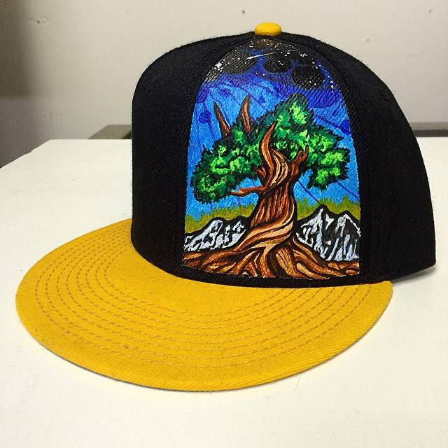 Another custom hat... #handpainted #risedesigns #westernjuniper #snapback
