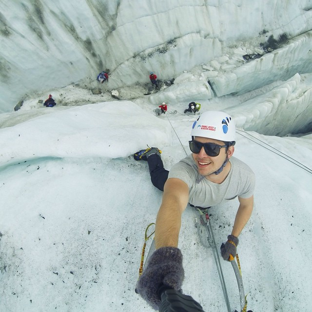 Photo of the Day! Who needs long sleeves? Not Harrison Young as he climbs the Franz Josef Glacier in New Zealand.