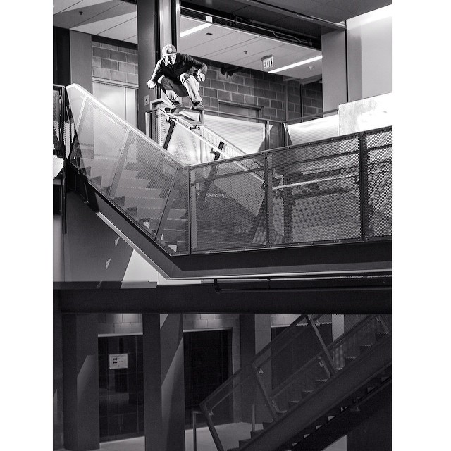 @brent_behm kickflips this schools 9-stair and has to answer to the cops in #issue33 #steezmagzine #background shot by @vacationtonowhere #kickflip #9stair #skateboarding