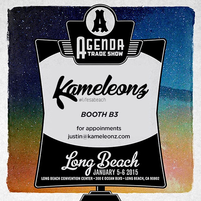Going to the Agenda Show in Long Beach this year? So are we! Come swing by our Booth B3, next to the main entrance, and see what we have cooked up for the 2015 Season! To set up an appointment contact justin@kameleonz.com #Kameleonz #LifesABeach...
