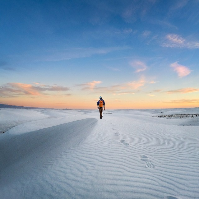 Photo of the Day! @travisburkephotography hikes though White Sands National Mounument in New Mexico. Happy New Year, everyone!
