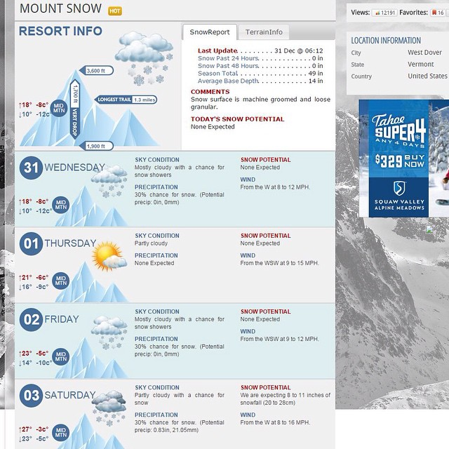 "Yup...that says 8""-11"" Saturday! #sendit #2015 #happynewyear #powder #mountsnow #justsendit #skiing #powdah #snowboarding #802 @valleybikeandskiwerks @mountsnow"