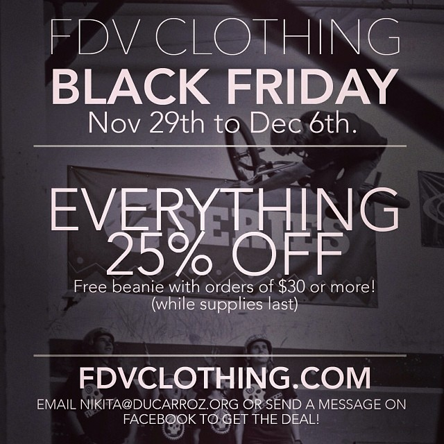 You still have today and tomorrow to take advantage of our holiday sale! Support your #local #riderowned #bmx company! #fdvclothing #bmxfam #blackfriday