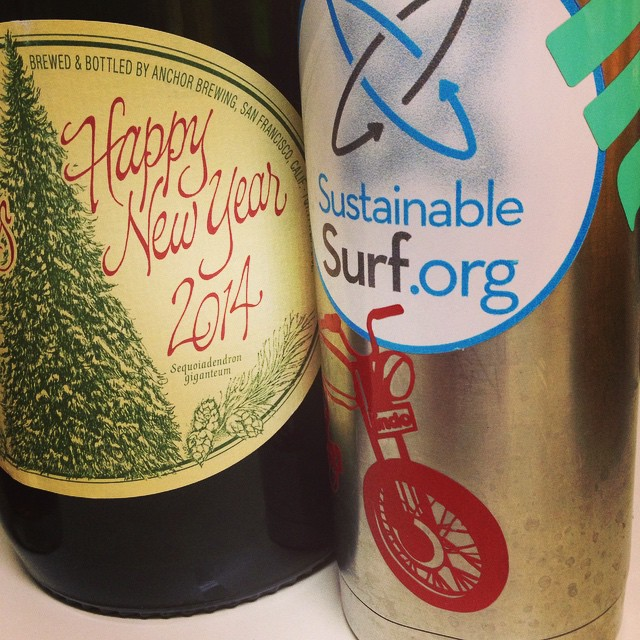 Happy New Year Everybody!  The big bottle on the left was for draining tonight...and the coffee cup on the right is for filling later this morning - as we greet the 1st sunrise of 2015, while heading to the beach for our 1st surf. -----Wishing everyone...