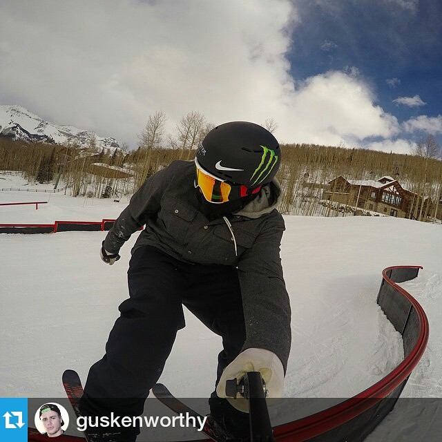 #Repost @guskenworthy ・・・ Just a little @gopro selfie for ya! Hyped on all the new features at @TellurideSki, especially this double barrel s-rail! Beautiful day to be shooting with @ESPN for the World of @XGames Aspen preview show!