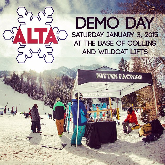 Come by Alta Resort anytime tomorrow Saturday January 3 for a chance to check out and demo our current lineup! We will be there all day in the Goldminers Daughter parking lot at the base of Collins and Wildcat lifts! See you there! @altaskiarea...