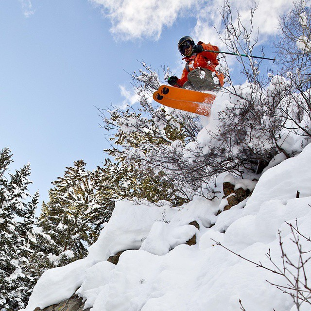 Sean and #kiwi leaving the ground in the #Colorado #backcountry #orangehot #powder Photo credit: @benkoelkerphoto