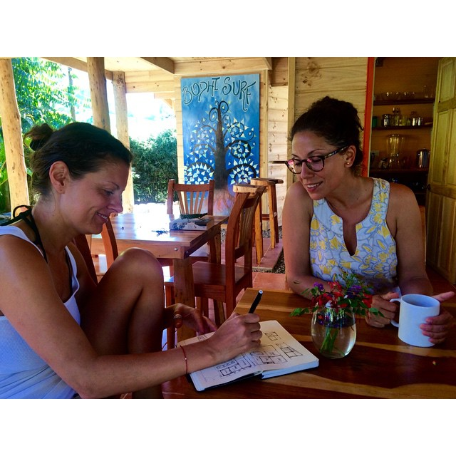 We have the coolest guests. These two lovely ladies are architects from New York City who took time during their vacation to help us with a layout plan for our next project, the Bodhi office...