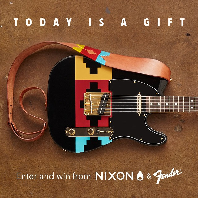Nixon is giving you the chance to win this custom-built Nixon @andrewreynolds Collection X @fenderguitar Telecaster. To enter, post an ORIGINAL photo of your local retailer carrying the Nixon Andrew Reynolds Collection & tag #ReynoldsCollectionGiveaway...