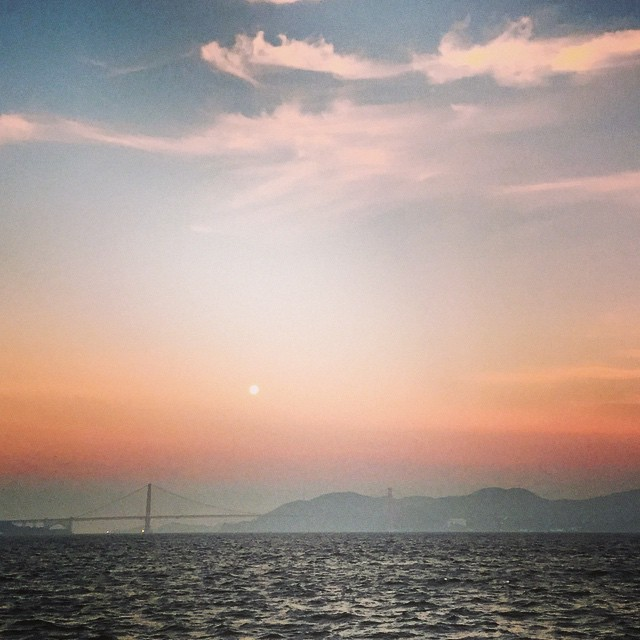 Today I've got the sun in the morning and the moon at night #sunrise #fullmoon #sanfrancisco #run #running #goodmorning