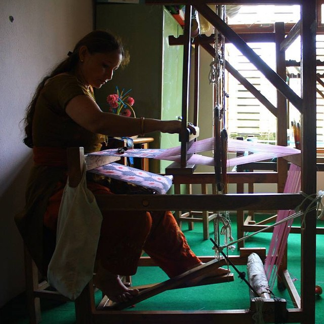 EST WST Collective weavers are hard at work on new scarves and textiles. Muna weaves a new dhaka scarf for EST WST at our collective in rural Kathmandu. #consumeconsciously #connectglobally #ethicalfashion #ecofashion #handmade