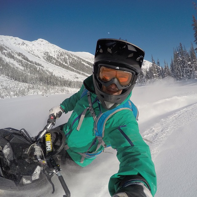 GoPro athlete @dberrecloth trades in his mountain bike for a snowmobile at Bralorne Adventure Lodge in Bralorne.