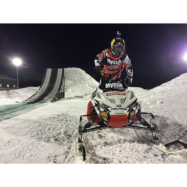 Seven-time #XGames gold medalist @levi_lavallee is gettin' after it under the lights at his compound in Longville, Minnesota! (