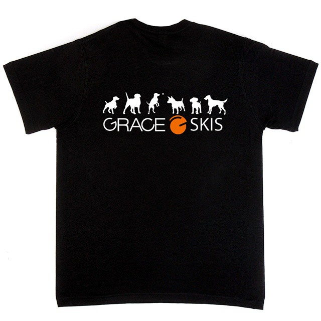 Grace dogs T-shirt on sale now at SkiGrace.com Get yours! #orangehot #blackshirt #dogs