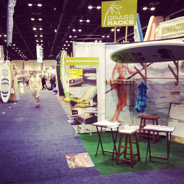 Great racks.. in booth 992. Come. Look. Love.  #surfexpo #boardrack #bamboo