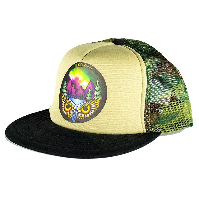 Aurora Falls - Trucker hat - Black Brim/Tan front/Camo mesh back #risedesigns #owl #northernlights #truckerhat #flatbrim
