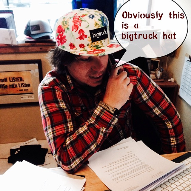 When in doubt, I protect my hardworking brain with a @bigtruckbrand hat | #oneofakind