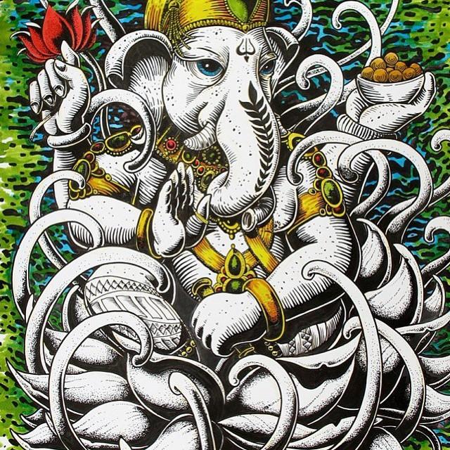 Tremendo trabajo de nuestro #FeaturedArtist @mvarbaro #Ganesha #INK #MartinVarbaro #TrueToThis #Volcom #Art