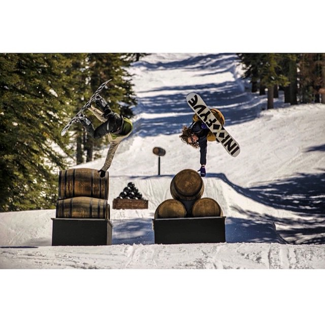 @woodwardtahoe opened up #NeffLand yesterday @borealmtn . Get your friends and come have some fun in the sun || Riders @armeenalexander @virginia_dave on the @5fyve X #iNi park board ||