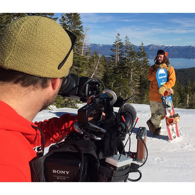 We're in Tahoe, Calif., filming with defending Snowboard SuperPipe gold medalist @travelindan for an #XGames Aspen feature story!