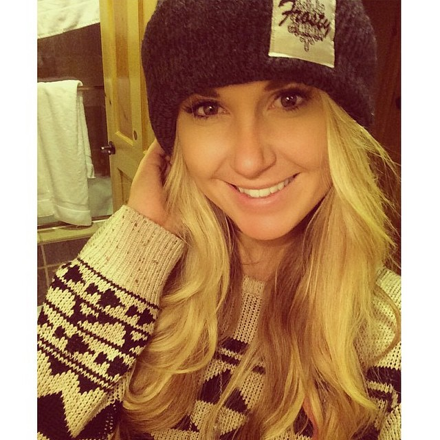 @oliviapaladin wearing the charcoal pom pom beanie. Get yours through www.frostyheadwear.com! #FrostyHeadwear #Beanies