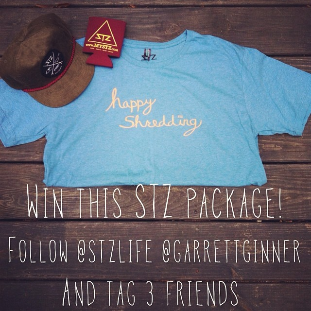 Last chance! @garrettginner will choose a winner first thing tomorrow morning! Follow him and @stzlife plus tag 3 friends. #contest #free #happyshredding #snapback #tshirt