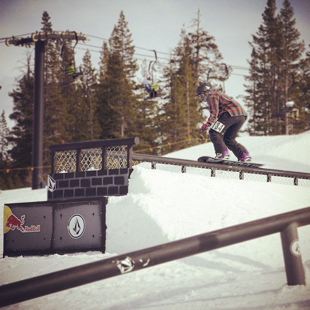 Thrive team rider @mayohmy at yesterday's #volcompbrj before going frontside 180 over the close out. #thrivesnowboards #prestige #girlswhoshred #boreal #railjam @volcompbrj