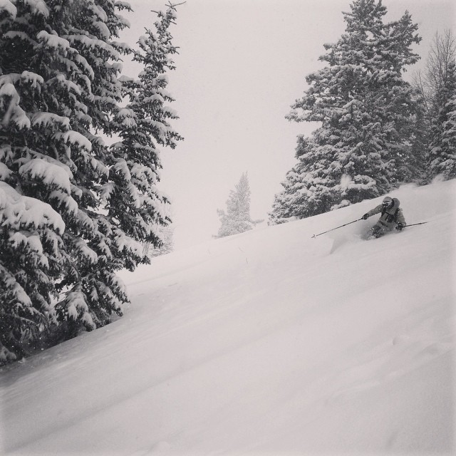 Paul Russell finding the goods during the last storm cycle @tellurideski. #dpsskis #powder #skiing