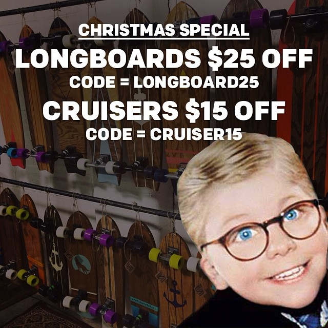 Christmas Special: $25 off longboards (code = LONGBOARD25) $15 off cruisers (code = CRUISER15) www.salemtownboardco.com
