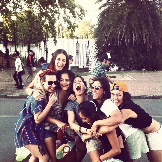 This is what #longboardgirlscrew is all about: love, support, camaraderie.  The girls during the II #southamericagirlsmeet2014 in Buenos Aires, Argentina, that gathered girls from #Uruguay #Brasil #Paraguay #Venezuela #Argentina #Colombia & #Spain....