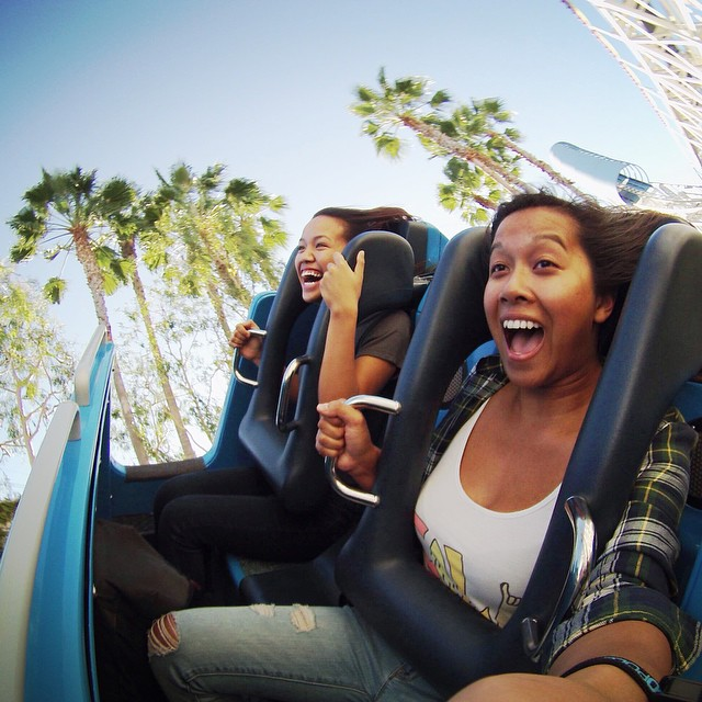 @ayehunny enjoying a roller coaster at Disney California Adventure. #gopro #gopole #grenadegrip #rollercoaster