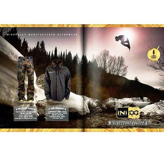 New 2 Page Spread in the newest issue of @arkadesnowboarding magazine. Epic river gap shot of iNi rider, Chris Frost @minnesnowtafrost last winter. #Camo #MilitantPant and #JibShirt @saltypeaksboardshop #Recycled