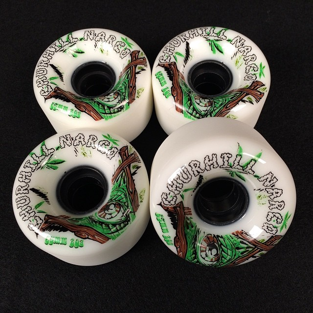 We got these @churchillmfg #narco 65mm 80a wheels on super sale. Ya we know that #churchillmfg is spelled wrong but hey who cares? Wheel graphics are usually lame anyway right? The #urethane is still #bangin #longboarding #longboard #love...