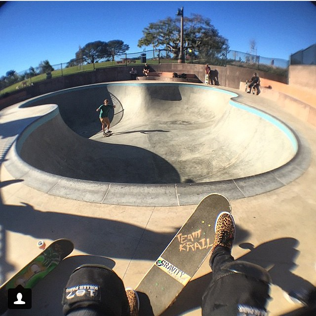 Checking in with @dsnakes at the new Encinitas Plaza bowl. Time to #ridethelightning ⚡️