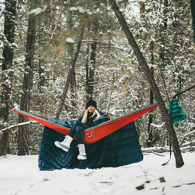Winter hammocking and snow tanning are the best