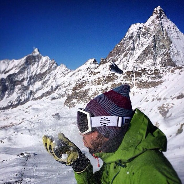 Let it snow. Mattia Zambroni taking a minute to check out the Matterhorn. #bosky #Matterhorn #cervino #alps