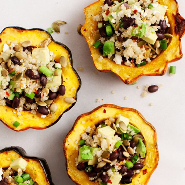 TASTY TUESDAYS // Avocado & Quinoa Stuffed Squash Acorn squash serving bowls are pretty dang cute—especially when they're packed with quinoa, avocado, black beans, and all kinds of spices. Tasty, filling, and super healthy...what more could we ask...