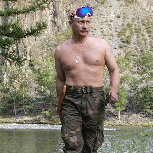 Looks like he's Putin on some Bosky goggles. Dare you to beat that pun. #bosky #goggles #Putin
