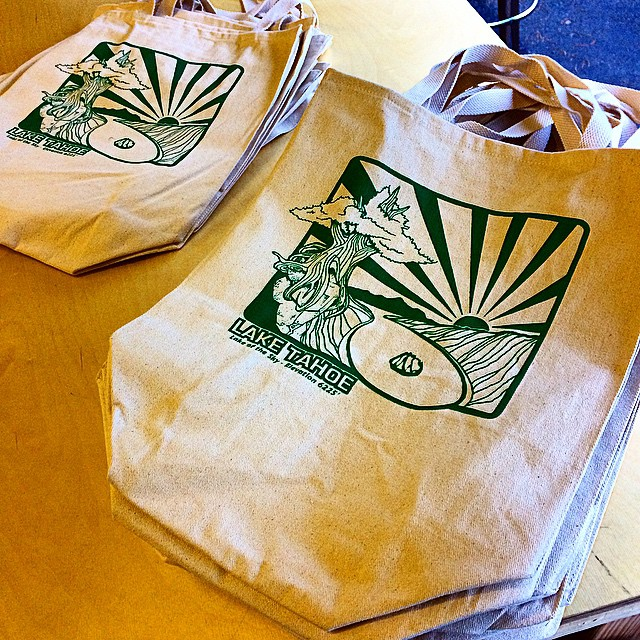 Just re-printed a handful of our tote bags. Nice one color Emerald Bay print on both sides. $10 on our website, grab one! #RISEdesigns #tahoe #totebag