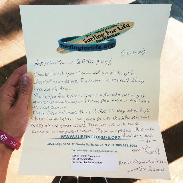 Letters like this fill our hearts with hope + happiness.  Tom Brown was diagnosed with stage IV cancer in 2008 and founded the @surfingforlifefoundation in between nearly 40 rounds of chemo as a way to raise cancer prevention awareness amongst the...