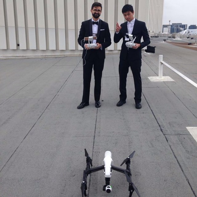 Two bodyguards for the #inspire1?! When you're popular, you're popular... #4k #aerialtechnology #aerial #redcarpet