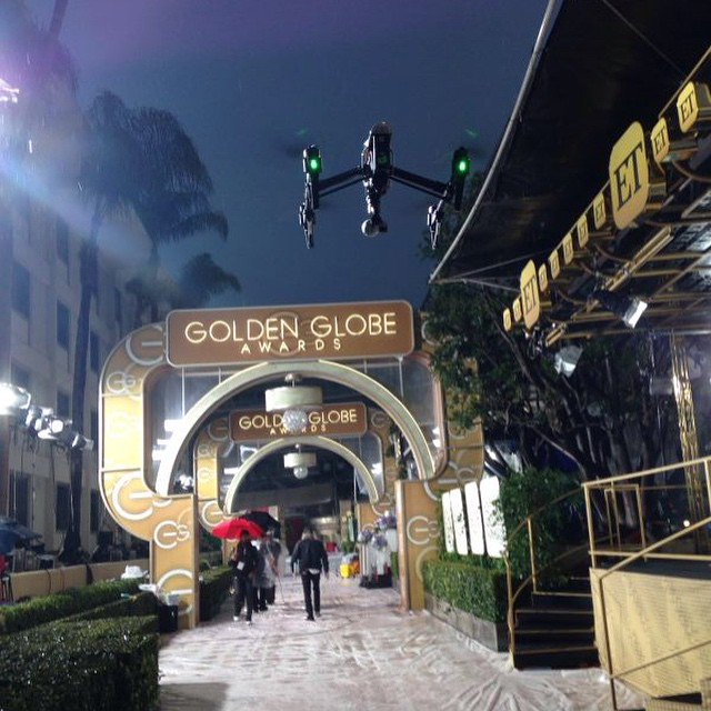 Walking down the #redcarpet is the #inspire1, wearing traditional #geekchic at the #goldenglobes  #4k #aerial #aerialtechnology #DJI #djicreator #fanboy #nerdgasm
