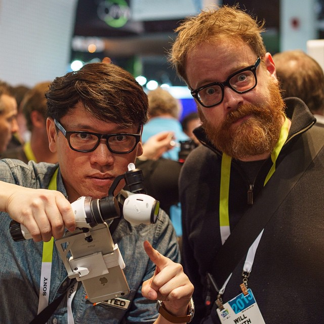 The face you make when you experience the #inspire1 camera #handheld mount at #CES2015  @normchan and Will Smith of tested.com.  #DJI #4k