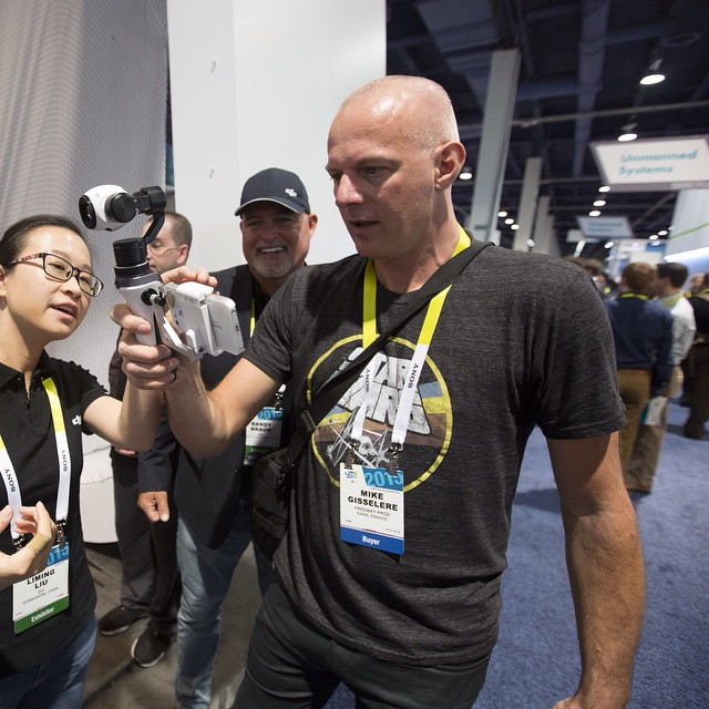 The face you make when you first try the new handheld mount for the #inspire1 camera.  Get your experience by visiting the #DJI booth at #CES2015  LVCC, South Hall 2, Booth 25614