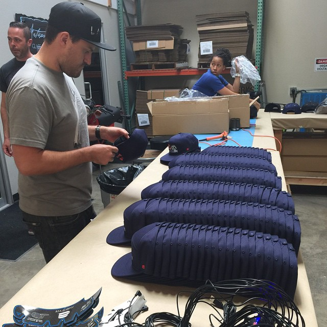 Our team members Andre, Ron, and Sloan  midway through assembling a new Lumativ custom order!