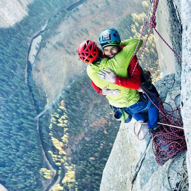 @tommycaldwell and @kjorgeson just completed the first free ascent of the Dawn Wall in Yosemite Valley...arguably the hardest rock climb in the world.  We'll cheers to that! #itswayoutthere